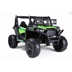 Elektrické autíčko UTV 24V, zelené, dvoumístné, 2 x 200 W Motor, EVA kola, odpružené nápravy, ektrická brzda, čalouněné sedadlo, 2,4 GHz DO, LED světla, USB, SD karta