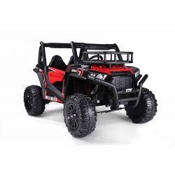Elektrické autíčko UTV 24V, červené, dvoumístné, 2 x 200 W Motor, EVA kola, odpružené nápravy, ektrická brzda, čalouněné sedadlo, 2,4 GHz DO, LED světla, USB, SD karta