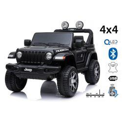 Elektrické autíčko Jeep Wrangler, Jednomístné, černé, Kožená sedadla, Rádio s Bluetooth přehrávačem, SD / USB vstup, Pohon 4x4, 12V10Ah Baterie, EVA kola, Odpružená náprava, 2,4 GHz Dálkové Ovládání