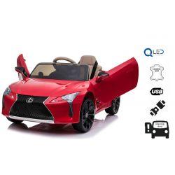 Elektrické autíčko Lexus LC500, 12V, 2,4 GHz dálkové ovládání, USB / SD Vstup, odpružení, otvíravé dveře směrem nahoru, 2 X MOTOR, červené, ORIGINAL licence