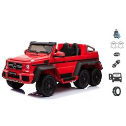 Elektrické autíčko Mercedes-Benz G63 6X6, červené, MP3 přehrávač, 6 Kol, Podsvícené kola, Pohon 4x4, 12V14AH, přesností baterie, Gumové kola, Čalouněné sedadlo, 2,4 GHz DO, 4 X Motor, Dvoumístné, Dvě pedálové tlačítka