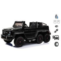 Elektrické autíčko Mercedes-Benz G63 6X6, černé, MP3 přehrávač, 6 Kol, Podsvícené kola, Pohon 4x4, 12V14AH, přesností baterie, Gumové kola, Čalouněné sedadlo, 2,4 GHz DO, 4 X Motor, Dvoumístné, Dvě pedálové tlačítka