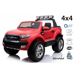 Elektrické autíčko Ford Ranger Wildtrak 4X4 LCD Luxury, LCD obrazovka, Pohon 4x4, 2 x 12V, EVA kola, Nelakované, čalouněné sedadlo, 2,4 GHz DO, klíč, 4 X MOTOR, Dvoumístné, červené, Bluetooth, USB, SD karta, ORGINAL licence