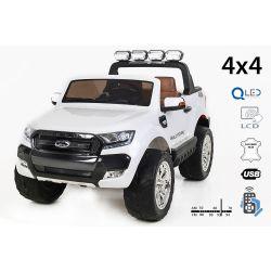 Elektrické autíčko Ford Ranger Wildtrak 4X4 LCD Luxury, LCD obrazovka, Pohon 4x4, 2 x 12V, EVA kola, Nelakované, čalouněné sedadlo, 2,4 GHz DO, klíč, 4 X MOTOR, Dvoumístné, bílé, Bluetooth, USB, SD karta, ORGINAL licence