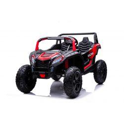 Elektrické autíčko UTV XXL 24V, červené, dvoumístné, 180 W Motory, Nafukovací gumové kola, odpružené zadní nápravy, kotoučová brzda, čalouněné sedadlo, nastavitelný volant, bluetooth, MP3 přehrávač se vstupem USB / SD