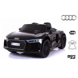 Elektrické autíčko Audi R8 Spyder, 12V, 2,4 GHz dálkové ovládání, otvíravé dveře, EVA kola, kožené sedadlo, 2 X MOTOR, černé, ORIGINÁL licence