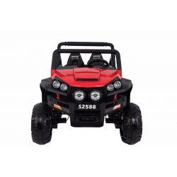 Elektrické autíčko RSX Červené, Pohon 4x4, 2x12V, EVA kola, široké dvoumístné čalouněné sedadlo, 2,4 GHz DO, 4 X MOTOR, Dvoumístné, FM Radio, Bluetooth