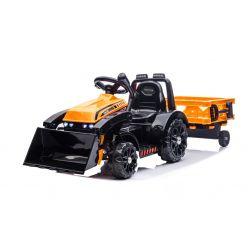 Elektrický Traktor FARMER s naběračkou a vlečkou, oranžový, zadní pohon, 6V baterie, Plastové kola, široké sedadlo, 20W Motor, Jednomístné, Ovládání na volantu, LED Světla