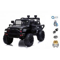 Elektrické autíčko OFFROAD s pohonem zadních kol, černé 12V baterie, Vysoký podvozek, široké sedadlo, Odpružené nápravy, 2,4 GHz Dálkový ovladač, MP3 přehrávač se vstupem USB / SD, LED světla