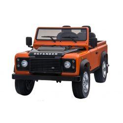 Elektrické autíčko Land Rover Deffender, oranžové, Pohon 4x4, 2x 12V7AH, EVA kola, Čalouněné sedadlo, 2,4 GHz Dálkový Ovladač, USB / TF vstup, Dvoumístné