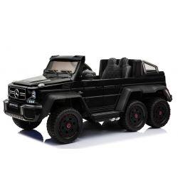 Elektrické autíčko Mercedes-Benz G63 6X6, černé Lakované, LCD obrazovka, 6 Kol, Podsvícené kola, Pohon 4x4, 12V14AH, přesností baterie, GUMENÉ kola, Čalouněné sedadlo, 2,4 GHz DO, klíč, 4 X MOTOR, Dvoumístné, Dvě pedálové tlačítka