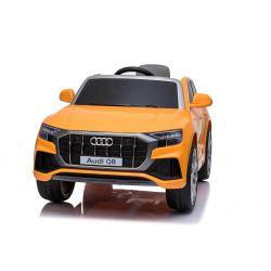 Elektrické autíčko Audi Q8, 12V, 2,4 GHz dálkové ovládání, USB / SD Vstup, LED světla, 12V baterie, měkké EVA kola, 2 X MOTOR, oranžové, ORIGINÁL licence