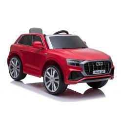 Elektrické autíčko Audi Q8, 12V, 2,4 GHz dálkové ovládání, USB / SD Vstup, LED světla, 12V baterie, měkké EVA kola, 2 X MOTOR, červené, ORIGINÁL licence