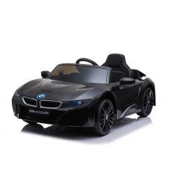 Elektrické autíčko BMW i8, 12V, 2,4 GHz dálkové ovládání, USB / SD Vstup, odpružení, 12V baterie, měkké EVA kola, 2 X MOTOR, černé, ORIGINAL licence