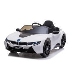 Elektrické autíčko BMW i8, 12V, 2,4 GHz dálkové ovládání, USB / SD Vstup, odpružení, 12V baterie, měkké EVA kola, 2 X MOTOR, bílé, ORIGINAL licence