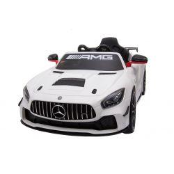 Elektrické autíčko Mercedes-Benz GT4, 12V, 2,4 GHz dálkové ovládání, odpružení, otvíravé dveře, měkké EVA kola, 2 X MOTOR, bílé, posilovač řízení, ORGINAL licence