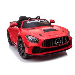 Elektrické autíčko Mercedes-Benz GT4, 12V, 2,4 GHz dálkové ovládání, odpružení, otvíravé dveře, měkké EVA kola, 2 X MOTOR, červené, posilovač řízení, ORGINAL licence