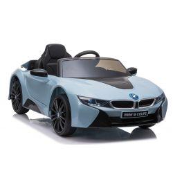 Elektrické autíčko BMW i8, 12V, 2,4 GHz dálkové ovládání, USB / SD Vstup, odpružení, 12V baterie, měkké EVA kola, 2 X MOTOR, modré, ORIGINAL licence
