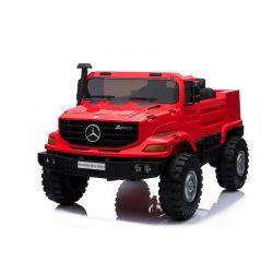 Elektrické autíčko Mercedes-Benz Zetros 24V, 2 x 120 W Motor, EVA kola, elektrická brzda, kožené sedadla, Odpružené nápravy, Dvoumístné, červené, FM rádio, USB, SD vstup, ORGINAL licence