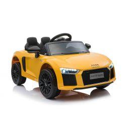 Elektrické autíčko Audi R8 small, 12V, 2,4 GHz dálkové ovládání, USB / SD Vstup, odpružení, 12V baterie, měkké EVA kola, 2 X MOTOR, žluté, ORIGINAL licence