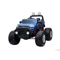 Elektrické autíčko Ford Ranger Monster Truck 4X4, Modré, Lakované, Dálkový ovladač 2.4Ghz, plynulý rozběh, USB / Radio / SD / MP3 vstup s Bluetooth připojením, Ukazatel kapacity baterie, Obrovské EVA kola, Odpružené, LED světla, prenostná baterie