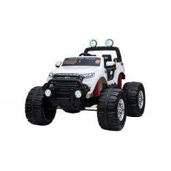 Elektrické autíčko Ford Ranger Monster Truck 4X4, bílé, Dálkový ovladač 2.4Ghz, plynulý rozběh, USB / Radio / SD / MP3 vstup s Bluetooth připojením, Ukazatel kapacity baterie, Obrovské EVA kola, Odpružené, LED světla, prenostná baterie