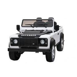 Elektrické autíčko Land Rover Deffender, bílé, Pohon 4x4, 2x 12V7AH, EVA kola, Čalouněné sedadlo, 2,4 GHz Dálkový Ovladač, USB / TF vstup, Dvoumístné