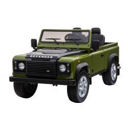 Elektrické autíčko Land Rover Deffender, zelené, Pohon 4x4, 2x 12V7AH, EVA kola, Čalouněné sedadlo, 2,4 GHz Dálkový Ovladač, USB / TF vstup, Dvoumístné