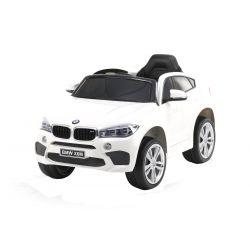 Elektrické autíčko BMW X6M NEW - jednomístné, bílé, EVA kola, kožené sedadlo, 12V, 2,4 GHz DO, 2XMOTOR, USB, SD karta, ORGINAL licence
