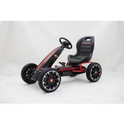 ABARTH Gokart na pedály - Šlapací motokára s volnoběhem, černá, Eva kola, ORGINAL licence