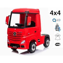 Elektrické autíčko Mercedes-Benz Actros, Jednomístné, červené, Kožené sedadlo, Mp3 přehrávač s USB vstupem, Pohon 4x4, 2x 12V7Ah Baterie, EVA kola, Odpružené nápravy, 2,4 GHz Dálkové Ovládání