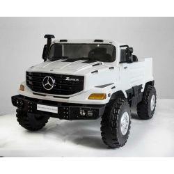Elektrické autíčko Mercedes-Benz Zetros 24V, 2 x 120 W Motor, EVA kola, elektrická brzda, kožené sedadla, Odpružené nápravy, Dvoumístné, bílé, FM rádio, USB, SD vstup, ORGINAL licence