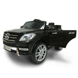 Elektrické autíčko Mercedes-Benz ML350, Plastový sedák, odpružené nápravy, USB / SD Vstup, Baterie 12V, 2 X MOTOR, Černé, ORGINAL licence