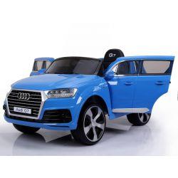 Elektrické autíčko Audi Q7, modré lakované, EVA kola, kožené sedadlo, 12V, 2,4 GHz DO, 2XMOTOR, USB, SD karta, ORGINAL licence