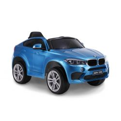 Elektrické autíčko BMW X6M NEW - jednomístné, modré lakované, EVA kola, kožené sedadlo, 12V, 2,4 GHz DO, 2XMOTOR, USB, SD karta, ORGINAL licence