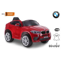 Elektrické autíčko BMW X6M NEW - jednomístné, červené lakované, EVA kola, kožené sedadlo, 12V, 2,4 GHz DO, 2XMOTOR, USB, SD karta, ORGINAL licence
