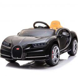 Elektrické autíčko Bugatti Chiron, 12V, 2,4 GHz dálkové ovládání, otvíravé dveře, EVA kola, kožené sedadlo, 2 X MOTOR, černé, ORGINAL licence