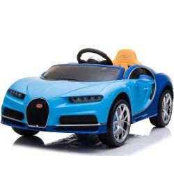 Elektrické autíčko Bugatti Chiron, 12V, 2,4 GHz dálkové ovládání, otvíravé dveře, EVA kola, kožené sedadlo, 2 X MOTOR, modré, ORGINAL licence