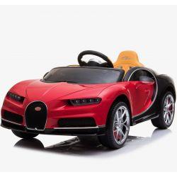 Elektrické autíčko Bugatti Chiron, 12V, 2,4 GHz dálkové ovládání, otvíravé dveře, EVA kola, kožené sedadlo, 2 X MOTOR, červené, ORGINAL licence