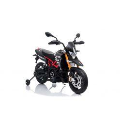 Elektrická Motorka APRILIA DORSODURO 900, Licencované, 12V baterie, EVA měkké kola, 2 x 18W motor, Odpružení, kovový rám, kovová vidlice, pomocná kolečka, Šedé