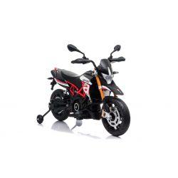 Elektrická Motorka APRILIA DORSODURO 900, Licencované, 12V baterie, EVA měkké kola, 2 x 18W motor, Odpružení, kovový rám, kovová vidlice, pomocná kolečka, červené
