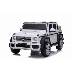 Elektrické autíčko Mercedes G650 MAYBACH, 12V, 2,4 GHz dálkové ovládání, USB / SD Vstup, odpružení, 12V baterie, měkké EVA kola, 2 X MOTOR, Bílé, ORIGINAL licence