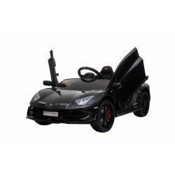 Elektrické autíčko Lamborghini Aventador, 12V, 2,4 GHz dálkové ovládání, USB / SD Vstup, odpružení, vertikální otvíravé dveře, měkké EVA kola, 2 X MOTOR, černé, ORIGINAL licence