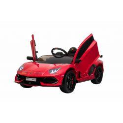 Elektrické autíčko Lamborghini Aventador, 12V, 2,4 GHz dálkové ovládání, USB / SD Vstup, odpružení, vertikální otvíravé dveře, měkké EVA kola, 2 X MOTOR, červené, ORIGINAL licence