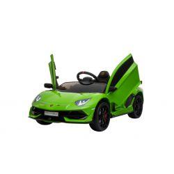 Elektrické autíčko Lamborghini Aventador, 12V, 2,4 GHz dálkové ovládání, USB / SD Vstup, odpružení, vertikální otvíravé dveře, měkké EVA kola, 2 X MOTOR, zelené, ORIGINAL licence
