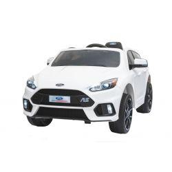 Elektrické autíčko Ford Focus RS, Bílé, 12V, EVA kola, čalouněný sedák, 2,4 GHz DO, 2 X MOTOR, USB, Radio