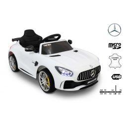 Elektrické autíčko Mercedes-Benz GTR, 12V, 2,4 GHz dálkové ovládání, odpružení, otvíravé dveře, měkké EVA kola, kožené sedadlo, 2 X MOTOR, bílé, ORGINAL licence