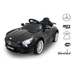 Elektrické autíčko Mercedes-Benz GTR, 12V, 2,4 GHz dálkové ovládání, odpružení, otvíravé dveře, měkké EVA kola, kožené sedadlo, 2 X MOTOR, černé, ORGINAL licence