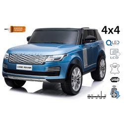 Elektrické autíčko Range Rover, Dvoumístné, modré lakované, Kožená sedadla, LCD Displej, Pohon 4x4, 2x 12V7AH, EVA kola, Odpružené nápravy, Klíčová třípolohové startování, 2,4 GHz Bluetooth Dálkový Ovladač