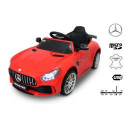 Elektrické autíčko Mercedes-Benz GTR, 12V, 2,4 GHz dálkové ovládání, odpružení, otvíravé dveře, měkké EVA kola, kožené sedadlo, 2 X MOTOR, červené, ORGINAL licence